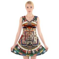 Colorful Mandala V Neck Sleeveless Skater Dress