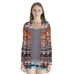 Colorful Mandala Drape Collar Cardigan