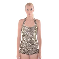 Golden European Pattern Boyleg Halter Swimsuit
