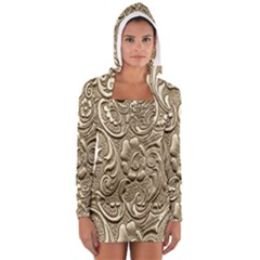 Golden European Pattern Long Sleeve Hooded T Shirt