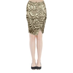 Golden European Pattern Midi Wrap Pencil Skirt