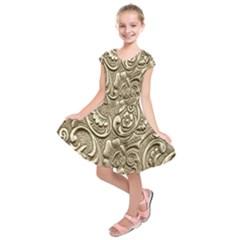 Golden European Pattern Kids  Short Sleeve Dress