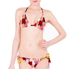 Rose Color Beautiful Flowers Bikini Set