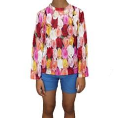 Rose Color Beautiful Flowers Kids  Long Sleeve Swimwear