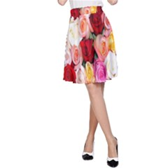 Rose Color Beautiful Flowers A Line Skirt