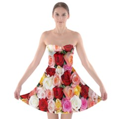 Rose Color Beautiful Flowers Strapless Bra Top Dress