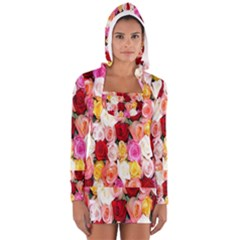 Rose Color Beautiful Flowers Long Sleeve Hooded T Shirt