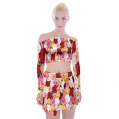 Rose Color Beautiful Flowers Off Shoulder Top With Skirt Set