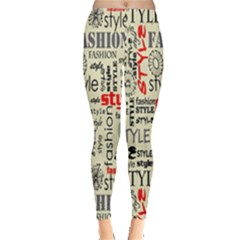 Backdrop Style With Texture And Typography Fashion Style Leggings
