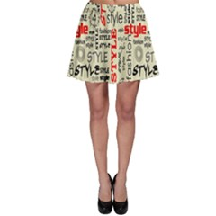 Backdrop Style With Texture And Typography Fashion Style Skater Skirt