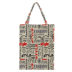 Backdrop Style With Texture And Typography Fashion Style Classic Tote Bag