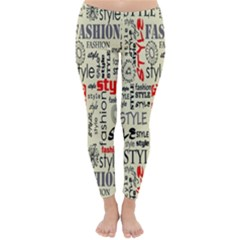 Backdrop Style With Texture And Typography Fashion Style Classic Winter Leggings