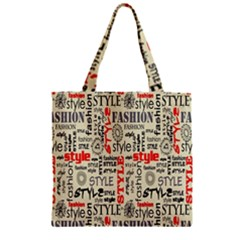Backdrop Style With Texture And Typography Fashion Style Zipper Grocery Tote Bag