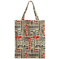 Backdrop Style With Texture And Typography Fashion Style Zipper Classic Tote Bag