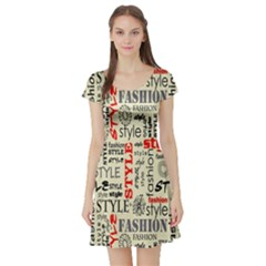 Backdrop Style With Texture And Typography Fashion Style Short Sleeve Skater Dress