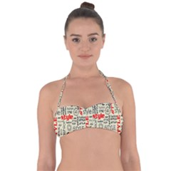 Backdrop Style With Texture And Typography Fashion Style Halter Bandeau Bikini Top