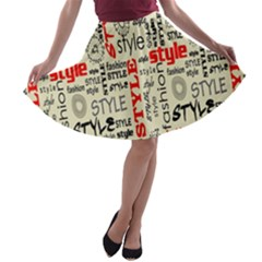 Backdrop Style With Texture And Typography Fashion Style A Line Skater Skirt