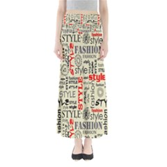 Backdrop Style With Texture And Typography Fashion Style Full Length Maxi Skirt