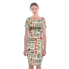 Backdrop Style With Texture And Typography Fashion Style Classic Short Sleeve Midi Dress