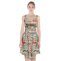 Backdrop Style With Texture And Typography Fashion Style Racerback Midi Dress