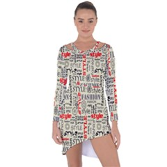 Backdrop Style With Texture And Typography Fashion Style Asymmetric Cut Out Shift Dress