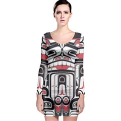 Ethnic Traditional Art Long Sleeve Bodycon Dress