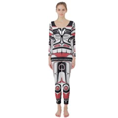 Ethnic Traditional Art Long Sleeve Catsuit