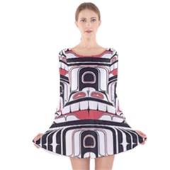 Ethnic Traditional Art Long Sleeve Velvet Skater Dress