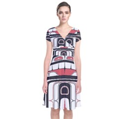 Ethnic Traditional Art Short Sleeve Front Wrap Dress