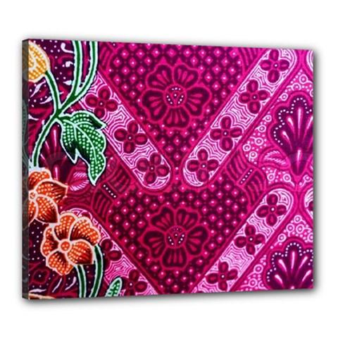 Pink Batik Cloth Fabric Canvas 24  X 20