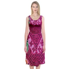 Pink Batik Cloth Fabric Midi Sleeveless Dress