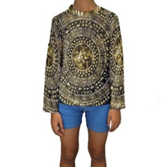 Gold Roman Shield Costume Kids  Long Sleeve Swimwear