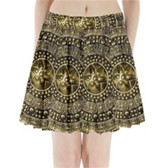 Gold Roman Shield Costume Pleated Mini Skirt
