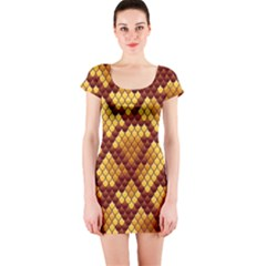 Snake Skin Pattern Vector Short Sleeve Bodycon Dress