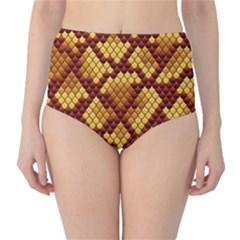 Snake Skin Pattern Vector High Waist Bikini Bottoms