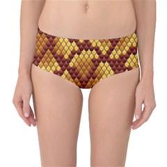Snake Skin Pattern Vector Mid Waist Bikini Bottoms