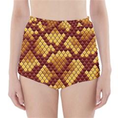 Snake Skin Pattern Vector High Waisted Bikini Bottoms