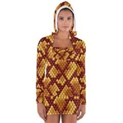 Snake Skin Pattern Vector Long Sleeve Hooded T Shirt