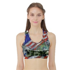 Usa United States Of America Images Independence Day Sports Bra With Border