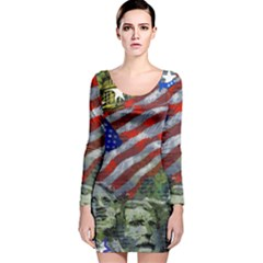 Usa United States Of America Images Independence Day Long Sleeve Velvet Bodycon Dress