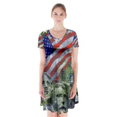 Usa United States Of America Images Independence Day Short Sleeve V Neck Flare Dress