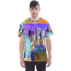 New York City The Statue Of Liberty Men s Sports Mesh Tee