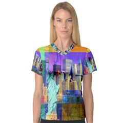 New York City The Statue Of Liberty V Neck Sport Mesh Tee
