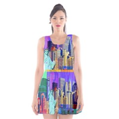 New York City The Statue Of Liberty Scoop Neck Skater Dress