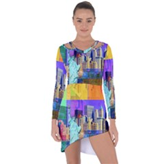 New York City The Statue Of Liberty Asymmetric Cut Out Shift Dress