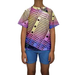 Optics Electronics Machine Technology Circuit Electronic Computer Technics Detail Psychedelic Abstra Kids  Short Sleeve Swimwear