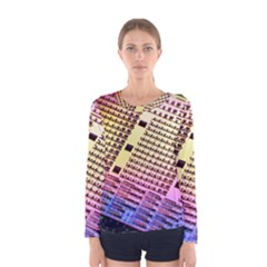 Optics Electronics Machine Technology Circuit Electronic Computer Technics Detail Psychedelic Abstra Women s Long Sleeve Tee