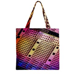 Optics Electronics Machine Technology Circuit Electronic Computer Technics Detail Psychedelic Abstra Zipper Grocery Tote Bag