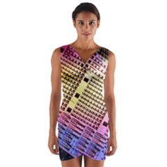 Optics Electronics Machine Technology Circuit Electronic Computer Technics Detail Psychedelic Abstra Wrap Front Bodycon Dress