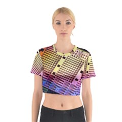 Optics Electronics Machine Technology Circuit Electronic Computer Technics Detail Psychedelic Abstra Cotton Crop Top